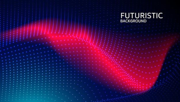 Partícula de onda digital abstrata sobre fundo azul Vetor Premium