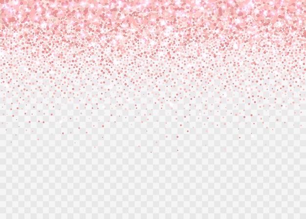 Partículas de glitter ouro rosa isoladas. efeito de brilho rosa pano de fundo para cartões de aniversário, convites de casamento, modelos de dia dos namorados etc. confetes espumantes caindo. Vetor Premium