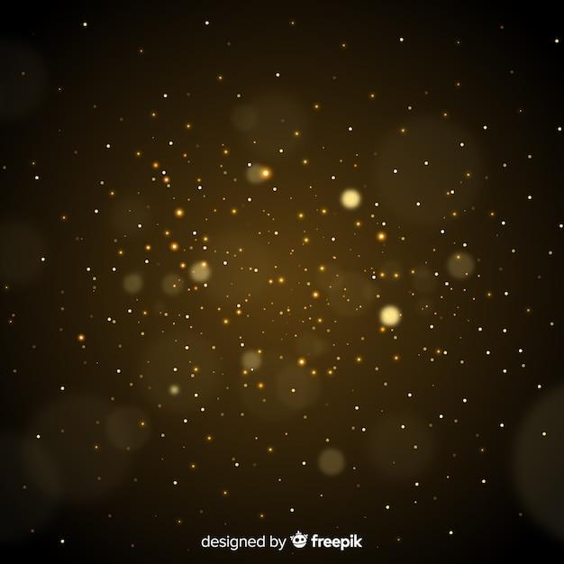 Partículas de ouro turva fundo decorativo Vetor grátis