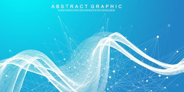 Partículas dinâmicas científicas abstratas, fluxo de ondas. Vetor Premium