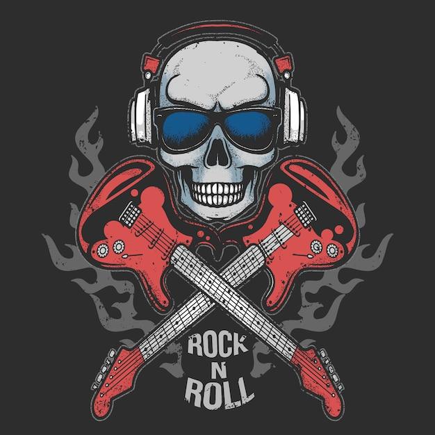 Partido de música de fone de ouvido do crânio com arte funcional da guitarra fogo do rock n roll Vetor Premium