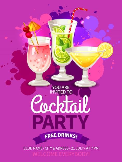 Partido dos cocktail panfletos Vetor grátis
