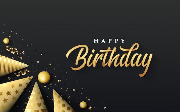 Party o fundo com uma ilustração de um chapéu dourado do aniversário no lado inferior esquerdo que escreve o feliz aniversario no ouro. Vetor Premium