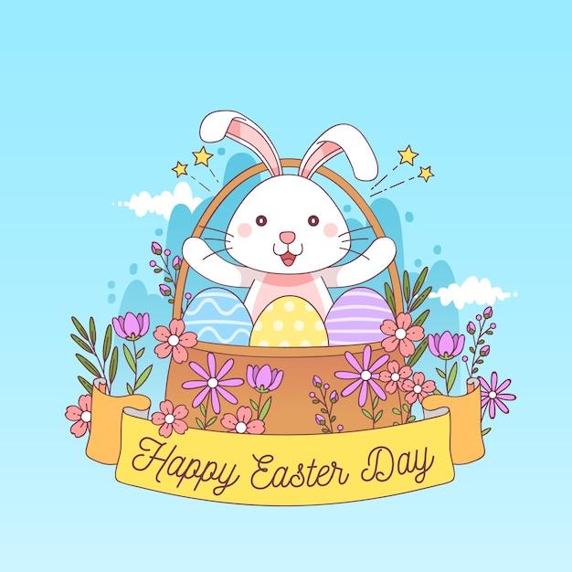 Páscoa de mão desenhada com coelho na cesta floral Vetor grátis