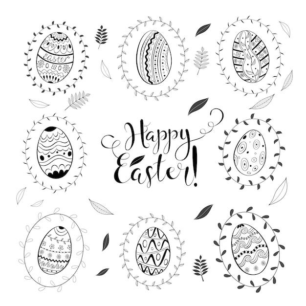 Páscoa dia primavera doodle conjunto com ovos e folhas Vetor Premium