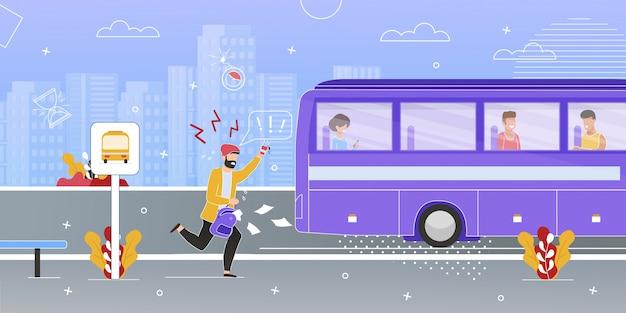 Passageiro correndo tentando pegar o ônibus Vetor Premium