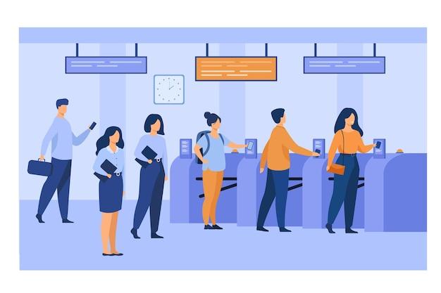 Passageiros do metrô digitalizando bilhetes eletrônicos de trem na entrada e nas catracas. funcionários do metrô uniformizados mantendo a ordem Vetor grátis