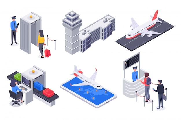 Passageiros isométricos do aeroporto. aeronaves de voo de turismo, passageiros de negócios com conjunto de ilustração de mala de viagem bagagem Vetor Premium