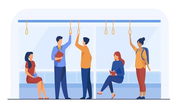 Passageiros na ilustração plana de vagão de metrô Vetor grátis