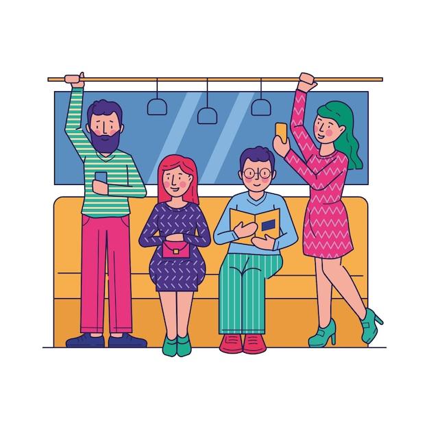 Passageiros que viajam pela ilustração plana de metrô Vetor grátis