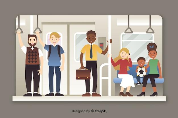 Passageiros usando o estilo plano de metrô Vetor grátis