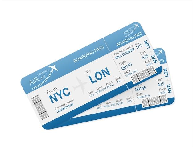 Passagens aéreas em papel. template. o negócio . . Vetor Premium