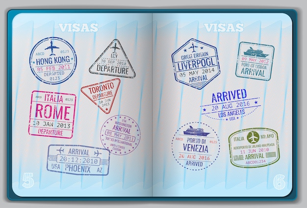 Passaporte aberto para viagens estrangeiras Vetor Premium
