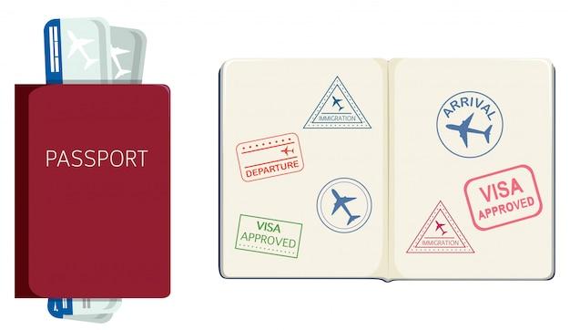 Passaporte e cartão de embarque Vetor Premium