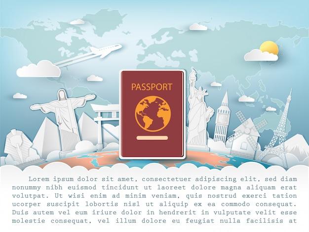 Passaporte viajar ao redor do conceito de mundo. Vetor Premium