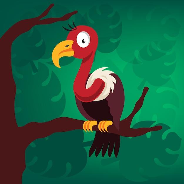 Pássaro abutre na árvore Vetor Premium