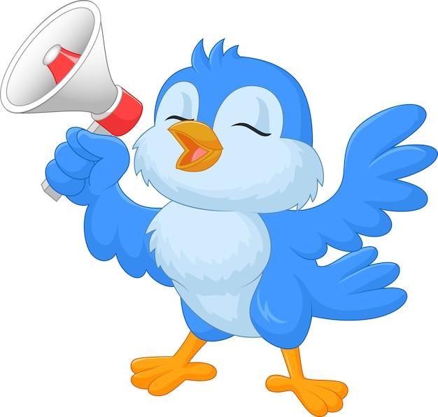 pássaro azul dos desenhos animados com megafone baixar vetores premium