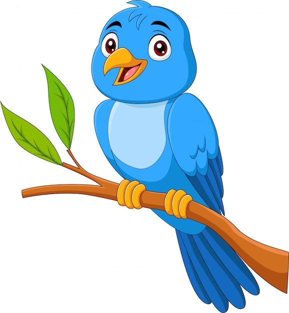 Passaro Azul Dos Desenhos Animados Sentado No Galho De Arvore Vetor Premium