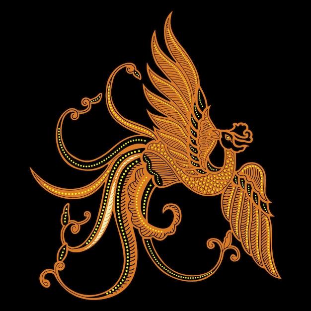 Pássaro batik Vetor Premium