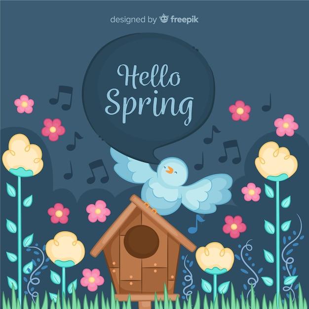 Pássaro cantando fundo de primavera Vetor grátis