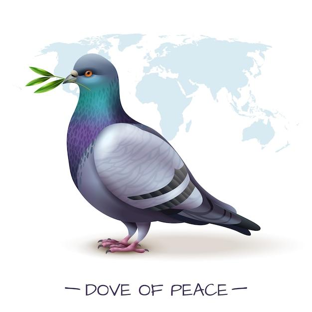 Pássaro com imagem de pombo segurando ramo com folhas verdes na frente do mapa do mundo Vetor grátis