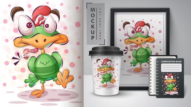 Pássaro com worm pôster e merchandising Vetor Premium
