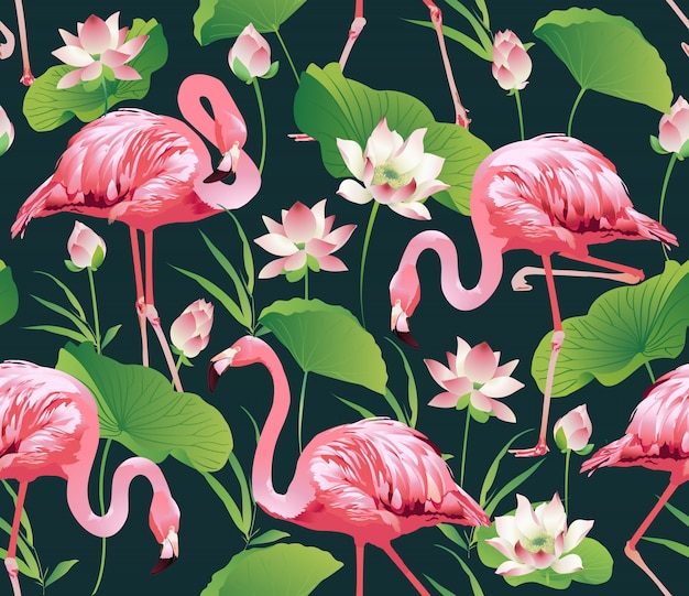 pássaro de flamingo e fundo de flores tropicais baixar vetores premium