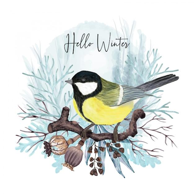 Pássaro de inverno na filial Vetor Premium
