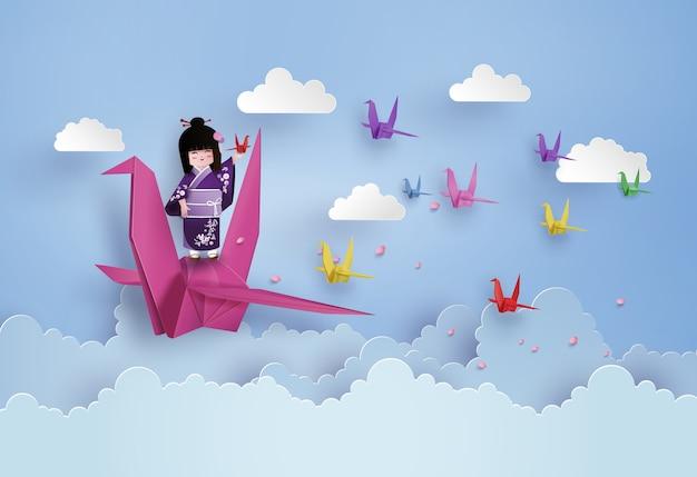 Pássaro do origami que voa no céu com nuvem. Vetor Premium