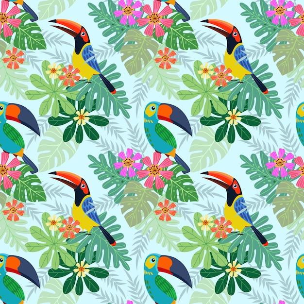 Pássaro do tucano com teste padrão sem emenda das flores tropicais. Vetor Premium
