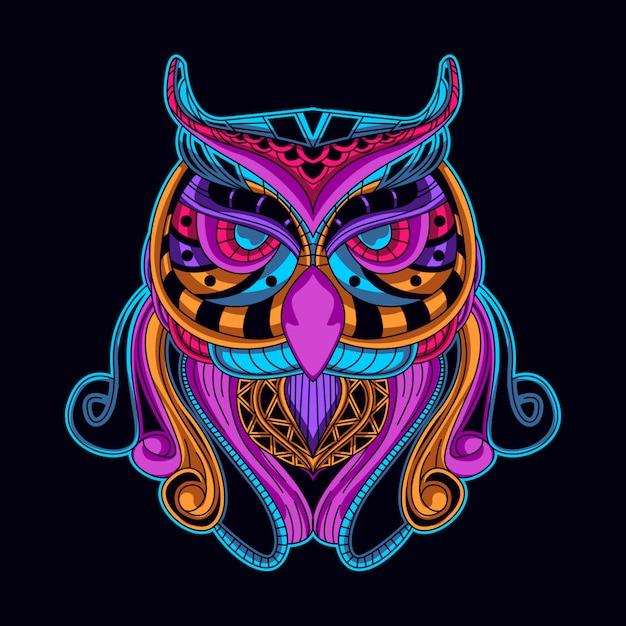 Pássaro em arte de estilo néon cor Vetor Premium