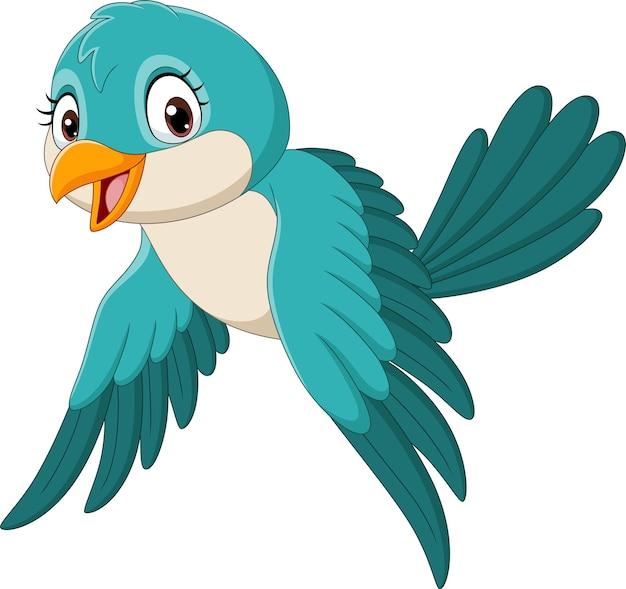 Pássaro engraçado desenho animado voando isolado no branco Vetor Premium