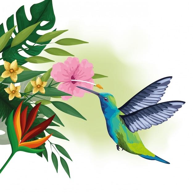 Pássaro exótico e desenho de flores tropicais Vetor grátis