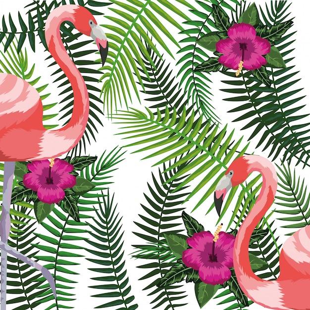 Pássaro exótico e fundo de folhas tropicais Vetor Premium