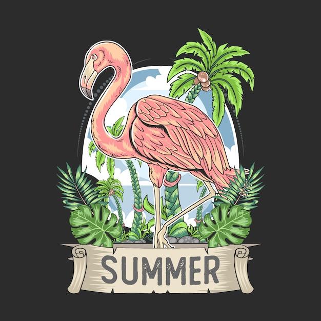 Pássaro flamingo rosa com vetor de verão tropical de árvore de coco Vetor Premium