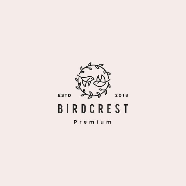 Pássaro folha crista logotipo hipster retro vintage icon ilustração para branding ou convite de casamento Vetor Premium