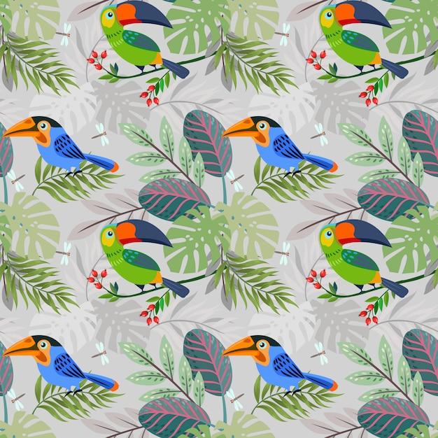 Pássaro toucan bonito no padrão de floresta. Vetor Premium