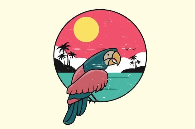 Pássaro tropical do verão do tucano Vetor Premium