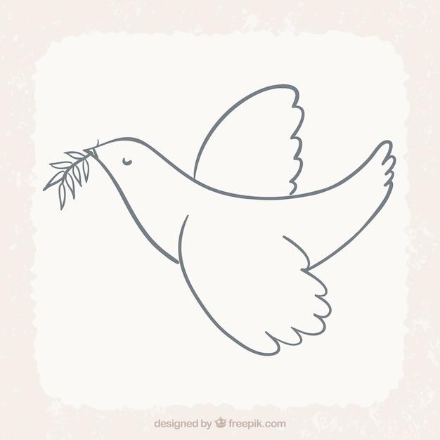 Pássaro voando com folha de louro Vetor grátis