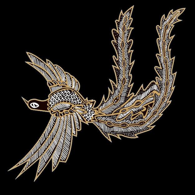 Pássaros batik com fundo preto Vetor Premium