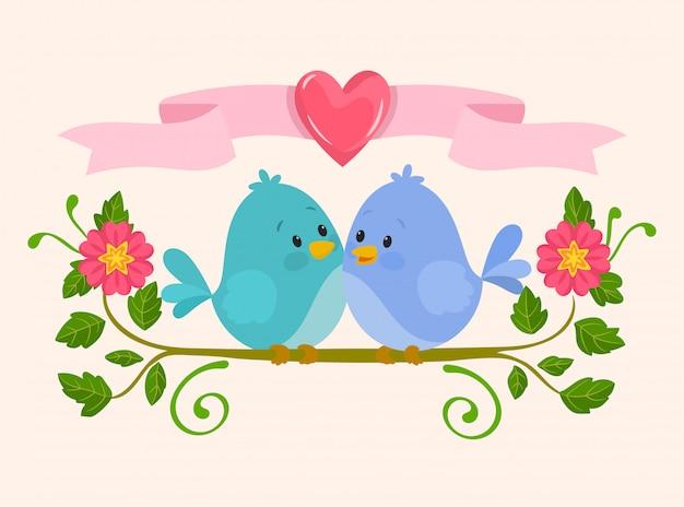 Pássaros bonitos no amor Vetor Premium