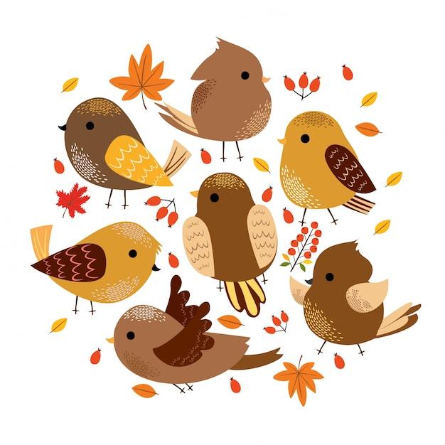 Pássaros de outono fofos Vetor grátis