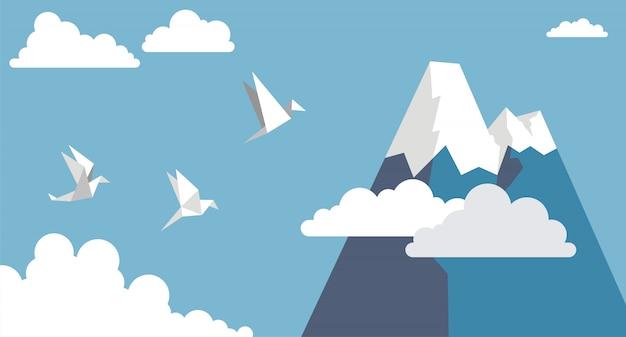 Pássaros de papel de origami, montanha e nuvem no céu azul, estilo simples Vetor Premium