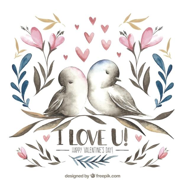 Pássaros de valentine desenhados a mão Vetor grátis