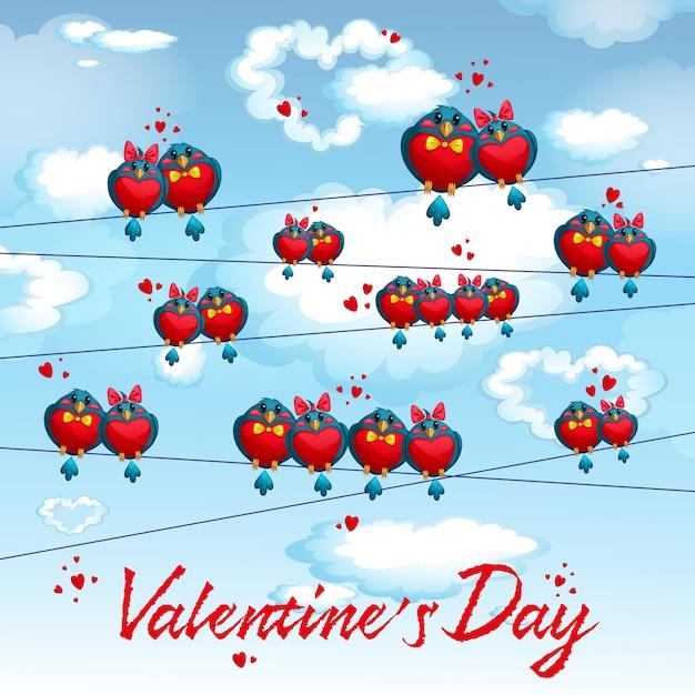 Pássaros engraçados nos fios. cartão postal para o dia dos namorados. Vetor Premium