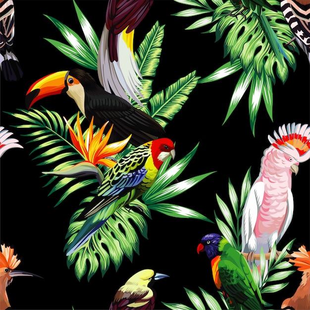Pássaros tropicais e palma deixa sem costura padrão preto Vetor Premium