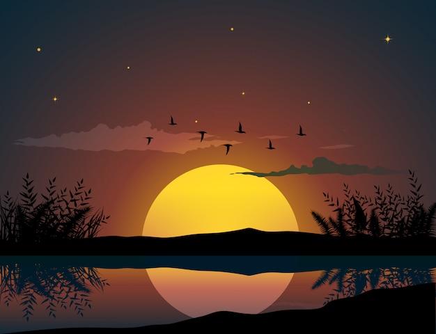 Pássaros voando acima do pôr do sol Vetor Premium