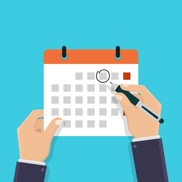 Passe segurar, um, calendário Vetor Premium