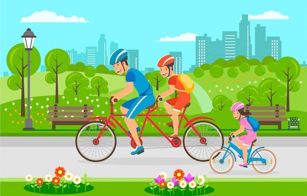Passeio da bicicleta da família através do parque da cidade no verão. Vetor Premium