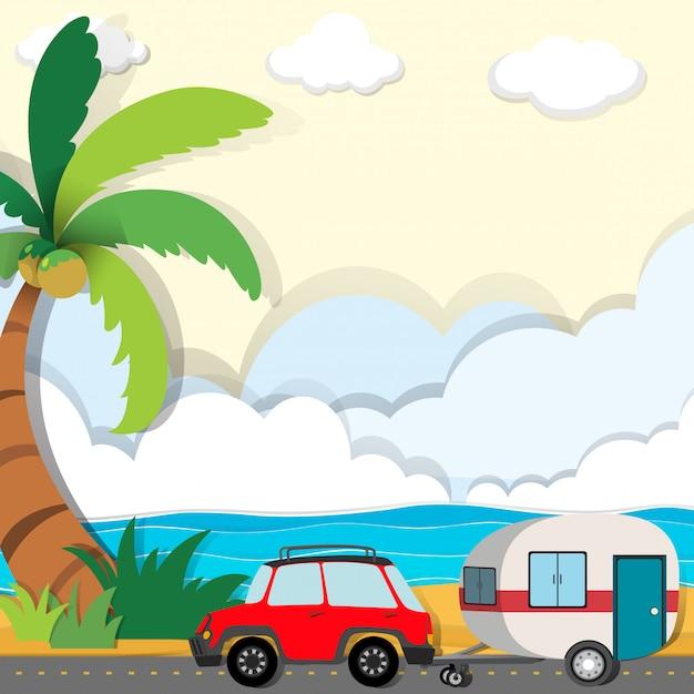 Passeio de carro pela praia Vetor grátis